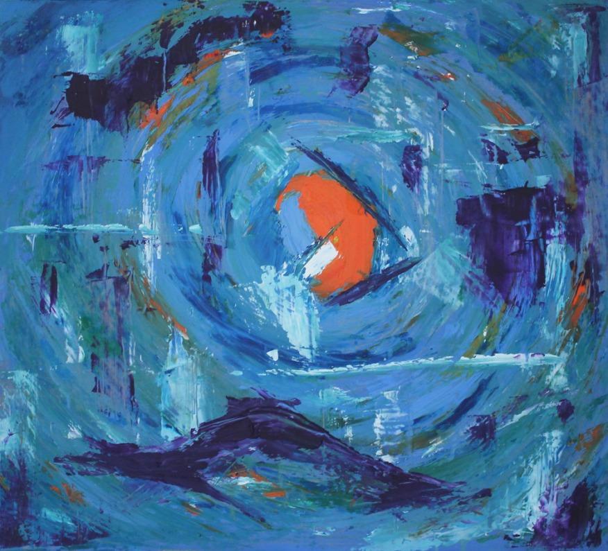 'Blood Moon 3' (2016), Oil on board, 45.3x40.9cm